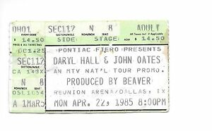 Daryl Hall & John Oates ticket stub April 22 1985 Reunion Arena Dallas TX