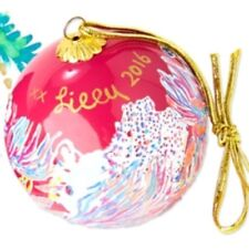 Lilly Pulitzer Ornament Glass Painted Dragonfruit Pink NIB Gift  Xmas Collector
