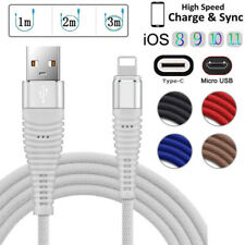1-3M Braided Lightning USB Charger Data Cable For iPhone x 8 7 Micro USB Type-C
