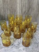 6 Vintage Libbey Amber Golden Wheat Drinking Glass 12 oz Tumblers 6-Juice EUC
