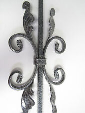 """43"""" HOLLOW IRON BUTTERFLY WITH LEAVES BALUSTER STAIR RAIL SILVER VEIN**NEW *****"""
