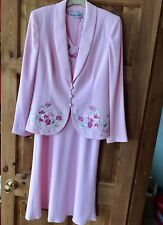 Jacques Vert Embroidered Dress & Jacket Size 10 Pink Mother Of The Bride