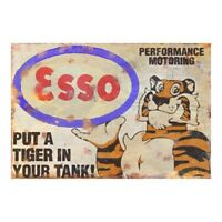 Metal Garage Sign Vintage Advertising Esso Tiger Motor Workshop Petrol  Plaque