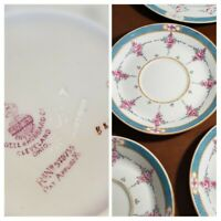 (10) PC Antique Minton PERSIAN ROSE Plate Set Older Stamp Pre-1911