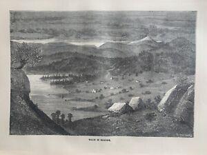 1870 View Of Bolkesjø Valley, Norway Original Antique Print Over 150 Years Old