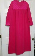 Vanity Fair Vintage Nightgown House Dress  ~ Sz L ~ Pink Plush ~ Long