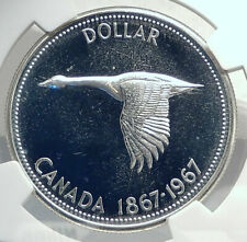 1967 CANADA CANADIAN Confederation Founding Silver Dollar Coin GOOSE NGC i77266