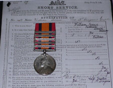 QSA MEDAL 5 CLASPS TO 3rd DRAGOON GUARDS + Papers, Rolls & WWI Service