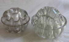 2 Clear Glass Round Vase FLOWER HOLDER Frogs Vintage Float Bowl