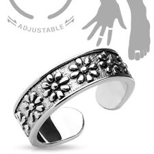 Mid-Ring or Toe Ring Adjustable Rhodium Plated Cute Flowers