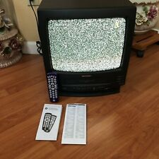 """SHARP 13VT-J100 13"""" Color TV VCR Combo VHS Recorder W/ Universal Remote Tested"""