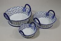 3er Set Zierschale Schale durchbrochenes Porzellan blaues Dekor China (RK501)