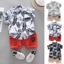 Toddler Kids Baby Boy Short Sleeve Cartoon Pattern Shirt Tops+Shorts Set Clothes