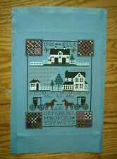Completed Finished Counted Cross Stitch Amish Farm Piece Removed From Frame 1986