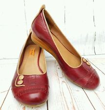 Miz Mooz 'Peaches' Womens Sz 7.5 Maroon Leather Wedges Ballet Slip-Ons Casual