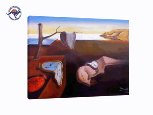 FRAMED SALVADOR DALI PERSISTENCE OF MEMORY REPRODUCTION AIRBRUSH STYLE PAINTING