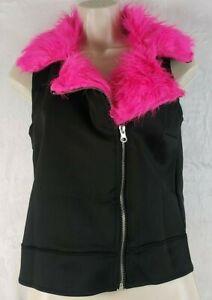 Weissman Top M Med Ladies Pink Black Collared Fur Front Zip Sleeveless Polyester