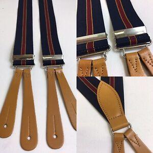 """Vintage 1940s Pattern Button Braces Leather 35mm U.K. Made Navy Stripe 40"""""""