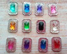 20 x oblong sew on stones 14mm dance, trim,gem,crystal,  flat back,stick on