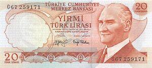 Turkey  20  Lira  ND. 1974  Series  G  Uncirculated Banknote WKsat