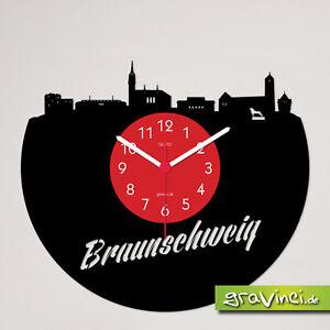 Braunschweig Skyline Schallplattenuhr