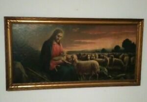 Vintage Print Jesus Flock of Sheep GIOVANNI Picture Religious 32'' X 16''