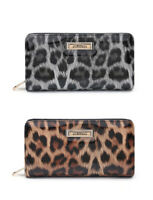 Ladies Large RFID Coin Patent Leopard Purse Girls Animal Print Wallet Clutch Bag