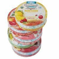 Torie and Howard Organic Hard Candy Tins Grapefruit Pear Pomegranate Lemon Raspb