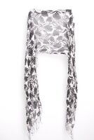 Stunning Women Rose Pattern Light Black and White Neck Scarf with Tassels (S280)