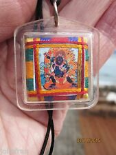DHARMA PROTECTOR 2 ARM BLACK MAHAKALA TIBETAN BUDDHIST PENDANT AMULET BLACK CORD