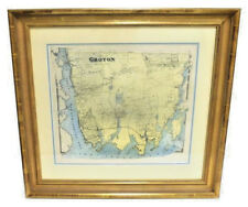 RARE ANTIQUE 19TH CENTURY RESIDENTIAL TOWN MAP OF GROTON CT HAND COLORED/FRAMED