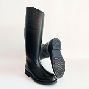 BOTTES POLICE FRENCH BIKER BOOTS MOLLET XL CALF EU42 US8.5 UK8 ROB LEATHER BLUF
