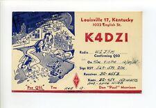 "Louisville KY, Don ""Paul"" Morrison radio postcard, K4DZI. ""Pse QSL"", 1955"