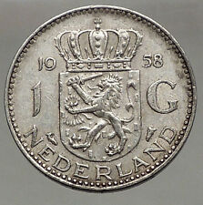 1958 Netherlands Kingdom Queen JULIANA 1 Gulden Authentic Silver Coin i56621