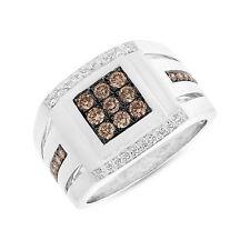 Mens 0.82CT 14K White Gold Natural Champagne Diamond Elegant Man Fashion Ring