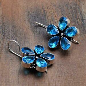 "Blue Opal Handmade Drop Dangle Earrings Jewelry 1.4"" AE 43810"