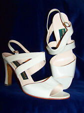 Never Worn! NICOLA CAMPANILE Off-White Italian Leather Sandal Heels 40 9 M
