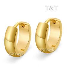 T&T Plain 14K GP Gold Stainless Steel Top Ear Hoop Earrings EH02J(3x6)