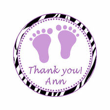 40 Stickers Baby Girl Shower Thank You Label Favor Supplies Zebra Purple A1