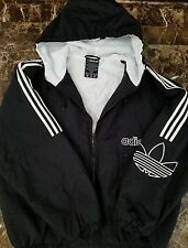 Adidas Classic Trefoil Vintage 90s Puffer Hoodie Jacket sz XL Quilted Coat Black