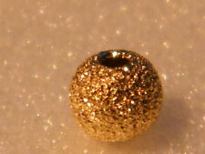 18ct Yellow Gold 2 Hole Bead 4mm Laser Cut Frosted Sparkle Finish-Findings .750
