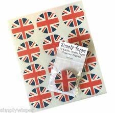 12 Union Jack Flag Cupcake Decoration Edible Cake Toppers English Pre Cut 40nm