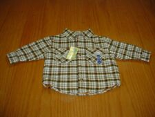 NEW WT GYMBOREE BOYS 6-12 MO LINED GREEN PLAID LS HEAVY WEIGHT SHIRT / JACKET