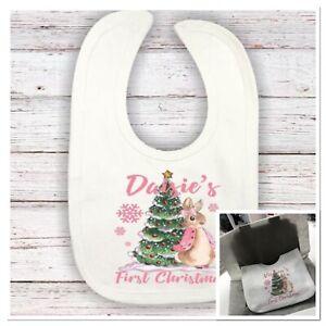 💕 Personalised  Peter Rabbit 1st christmas baby girls  bib  First Xmas flopsy