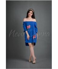 OFF SHOULDER EMBROIDERED DRESS (ROYAL BLUE) #crzycod