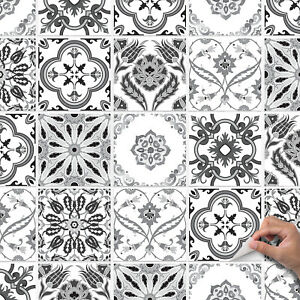 Grey Traditional Vintage Tile Stickers For Kitchen or Bathroom - T9 GREYS