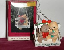 Our Christmas Together 1993 Kitties Snuggle on Swing Commemoritve Hallmark