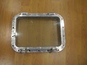 "Vintage 24"" Aluminum Rectangular Porthole- Great as a Window Ship Salvaged"