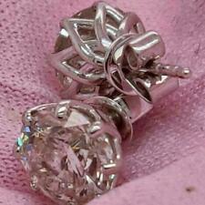14K White Gold Finish 2Ct Round Cut Diamond Push Back Solitaire Stud Earrings