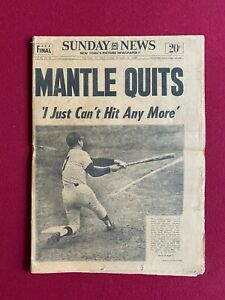 """1968, Mickey Mantle, """"MANTLE QUITS"""", NY DAILY NEWS (Scarce / Vintage) Yankees"""